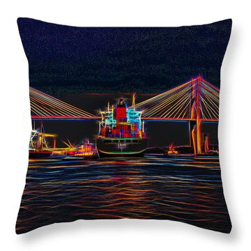 Container Ship Arriving At Savannah Throw Pillow