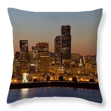 Container Ship On Puget Sound Along Seattle Skyline Throw Pillow