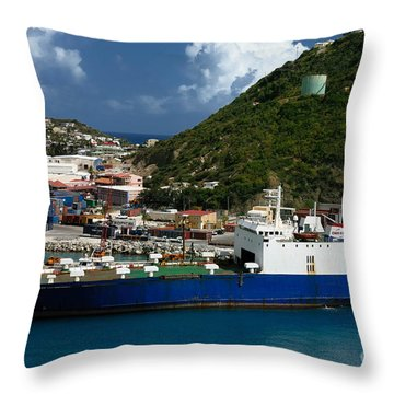 Container Ship St Maarten Throw Pillow