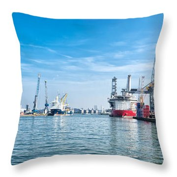 Container Terminal Throw Pillow by Hans Engbers