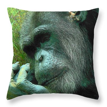 Throw Pillow featuring the photograph Contemplative Chimp by Rodney Lee Williams