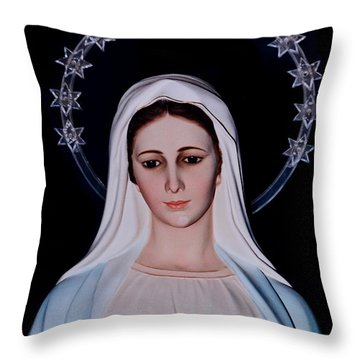 Contemplative Our Lady Queen Of Peace  Throw Pillow