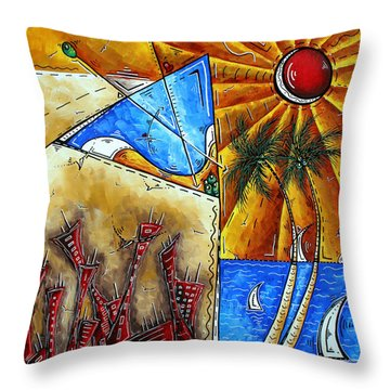 Contemporary Coastal Nautical Tropical Martin Art Original Sailboat Painting Ocean View By Madart Throw Pillow by Megan Duncanson