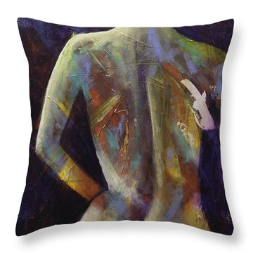 Contemporary Nude Woman Portrait Expressionist Style Throw Pillow