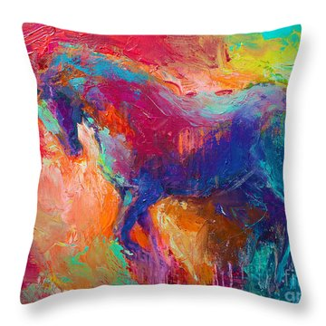 Contemporary Vibrant Horse Painting Throw Pillow