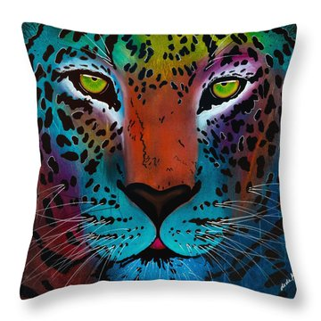 Throw Pillow featuring the painting Content Leopard by Dede Koll