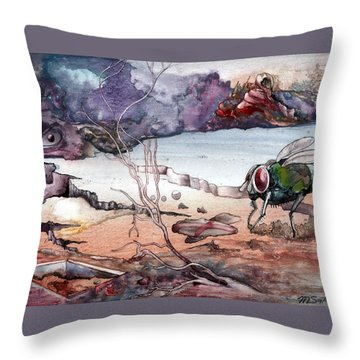 Throw Pillow featuring the painting Contest by Mikhail Savchenko