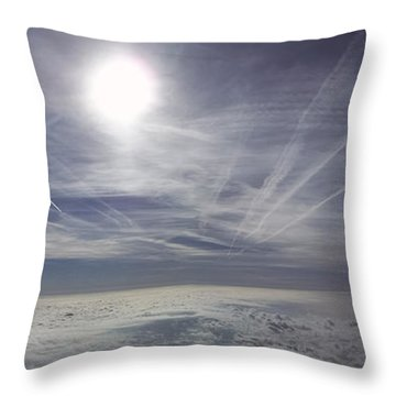 Contrail Panorama Throw Pillow by Greg Reed