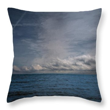 Throw Pillow featuring the photograph Contrails And Rainclouds Over Lake Michigan by John M Bailey