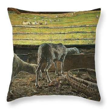 Contrast Of Light Throw Pillow by Giovanni Segantini