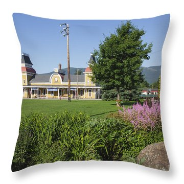 Conway Scenic Railroad - North Conway New Hampshire Usa Throw Pillow by Erin Paul Donovan