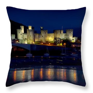 Conwy Castle At Night Throw Pillow