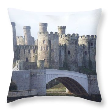 Throw Pillow featuring the photograph Conwy Castle by Christopher Rowlands