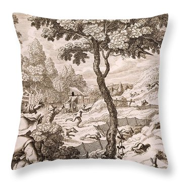 Cony Catching, Engraved By Wenceslaus Throw Pillow