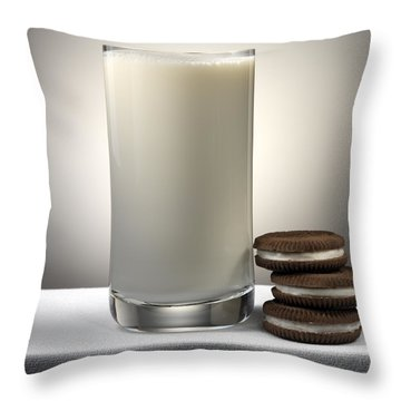 Cookies And Milk Throw Pillow by Robert Mollett