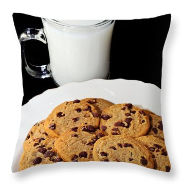Cookies - Milk - Chocolate Chip - Baker Throw Pillow by Andee Design
