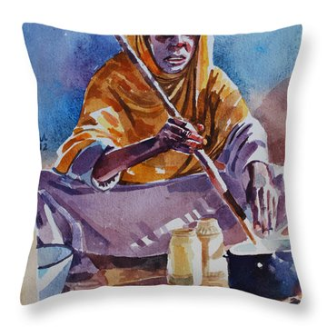 Cooking Morning Throw Pillow by Mohamed Fadul