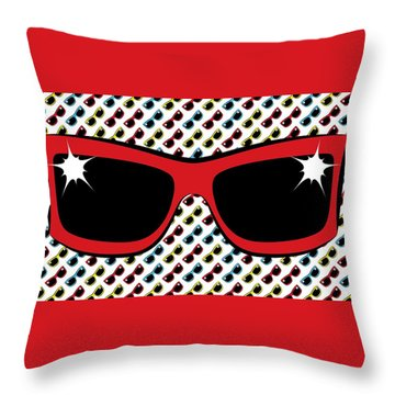 Cool 90's Sunglasses Red Throw Pillow