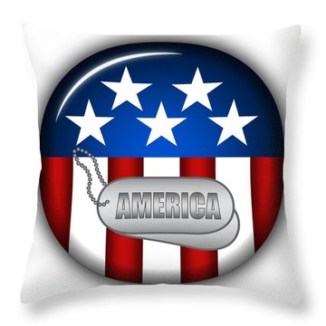 Cool America Insignia Throw Pillow by Pamela Johnson