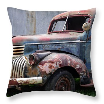 Throw Pillow featuring the photograph Cool Blue Chevy by Steven Bateson