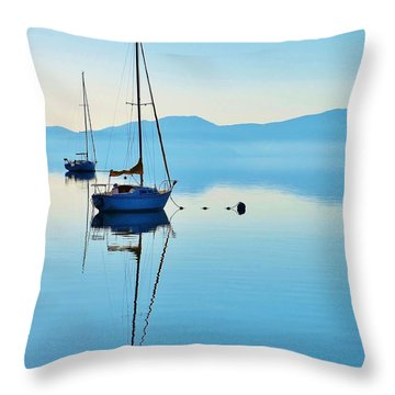Cool Blue Tahoe Sail Throw Pillow