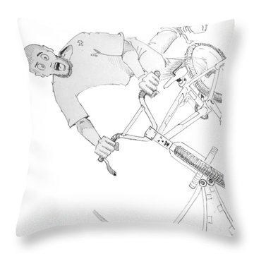 Cool Bmx Drawing Throw Pillow by Mike Jory