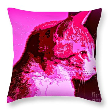 Throw Pillow featuring the photograph Cool Cat by Clare Bevan