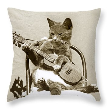 Throw Pillow featuring the photograph Cool Cat Playing A Guitar Circa 1900 Historical Photo By Photo  Henry King Nourse by California Views Mr Pat Hathaway Archives