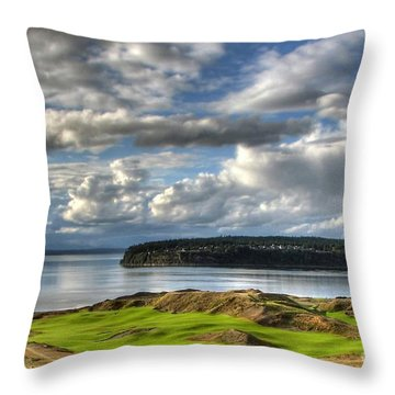 Throw Pillow featuring the photograph Cool Clouds - Chambers Bay Golf Course by Chris Anderson