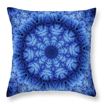 Throw Pillow featuring the digital art Cool Down Series #1 Snowflake by Lilia D