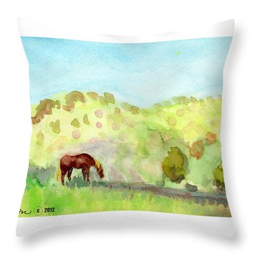 Throw Pillow featuring the painting Cool Drink by C Sitton