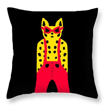 Cool For Cats In Red Dungarees Throw Pillow