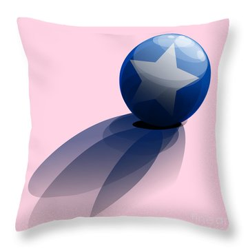Blue Ball Decorated With Star Throw Pillow