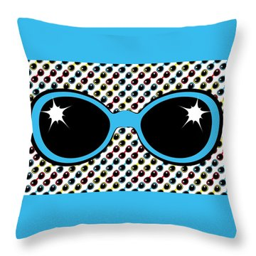 Cool Retro Blue Sunglasses Throw Pillow