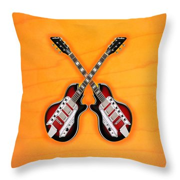 Cool Vintage Guitar Throw Pillow by Doron Mafdoos