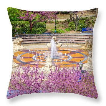Coolidge Park Fountain In Spring Throw Pillow