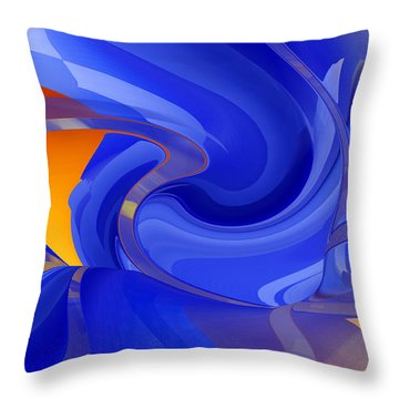 Throw Pillow featuring the digital art Cooling Wave - Abstract Art by rd Erickson