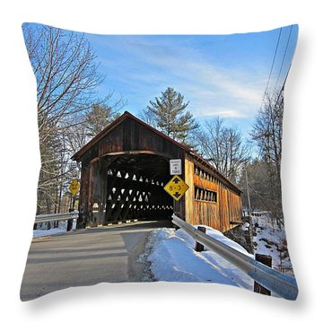 Coombs Covered Bridge Throw Pillow by MTBobbins Photography