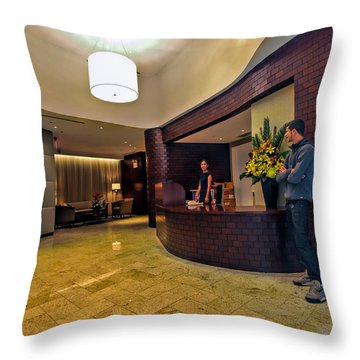 Cooper Lobby Throw Pillow by Steve Sahm