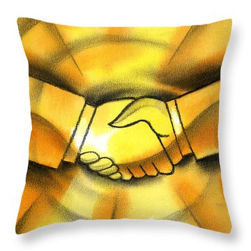 Cooperation Throw Pillow by Leon Zernitsky