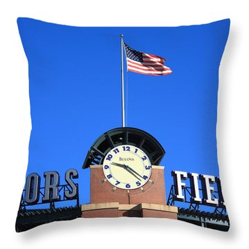 Coors Field - Colorado Rockies Throw Pillow by Frank Romeo