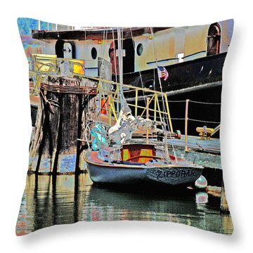 Coos Bay Harbor Throw Pillow