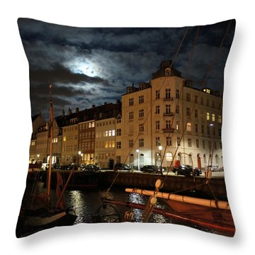 Copenhagen At Night Throw Pillow