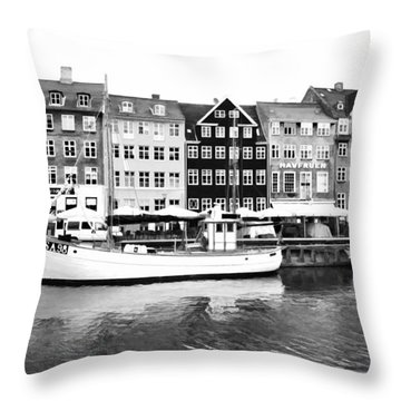 Copenhagen Black And White Throw Pillow