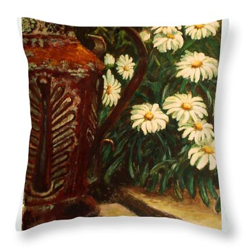 Copper And Daisies Throw Pillow by Harriett Masterson