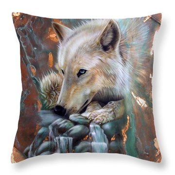 Copper Arctic Wolf Throw Pillow