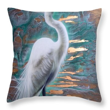 Copper Egret Throw Pillow