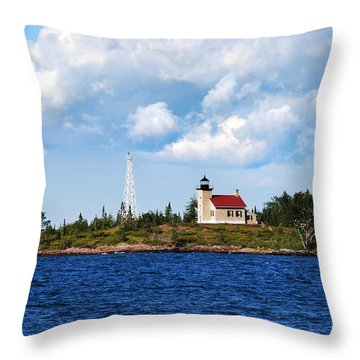 Copper Harbor Lighthouse Throw Pillow by Christina Rollo