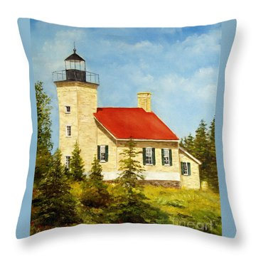 Copper Harbor Lighthouse Throw Pillow by Lee Piper