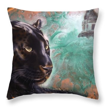 Copper Jaguar Throw Pillow